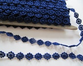 5 yds Vintage flower trim, dark blue royal blue embroidered floral trim by the yard, circa 1940's, millinery trim, tiny single appliques