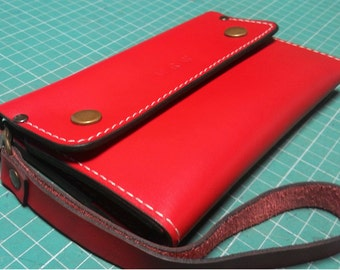 Stylish red genuine leather wallet clutch for iphone 6 Plus or Iphone 6 S with protective case with wristlet pockets for cards ID cards coin