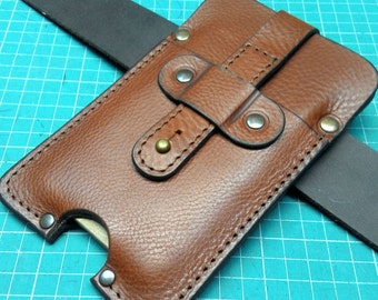 Handmade sleeve for iPhone 7 from genuine brown leather, black thread with belt loop ,personalized, great fathers gift