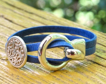 """Sapphire Blue Leather, Wrap bracelet,  Whirly Wrap, Antique Silver """"Buckle"""" Hook, silver etched disc. easy hook clasp"""