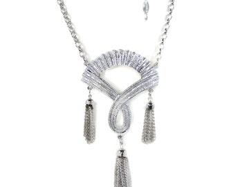 Sarah Coventry Silvertone Tassel Necklace