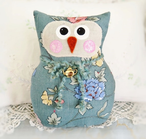 OWL Pillow Doll, 9 inch Soft Sculpture Owl, AQUA, Cottage Chic Prim Primitive Handmade Handcrafted CharlotteStyle Decorative Folk Art