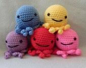 Made to order, Hand Crocheted Octopus You choose the colors, pink, blue, green, purple, multi etc..