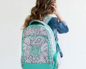 Personalized Kids Backpacks in Parker Paisley print LARGE size monogram