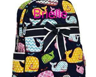 SALE Personalized Kids Toddler Backpacks Quilted in Whales Print