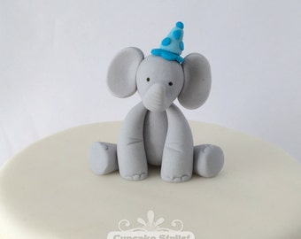 Gumpaste Elephant with Party Hat Cupcake or Cake Topper, by Cupcake Stylist on Etsy