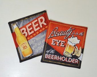 Funny Beer Mug Rugs - Comical Sayings Coasters - Retro Man Cave Decor - Beer Lover Gift for Him - Eye of the Beerholder - Bottles