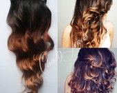 Natural Ombre Hair Extensions, Human Hair Extensions. Colored Hair Extension Clip, Hair Wefts, Clip in Hair, Dip Dyed Hair