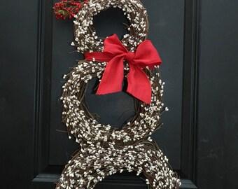 Christmas  Wreath - Snowmen Wreath - Snowman Wreath - Choose Scarf