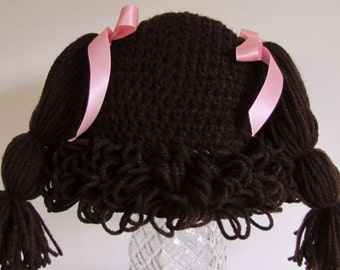 18-24 months (dark brown) Cabbage patch wig/hat.  (You choose bow color)