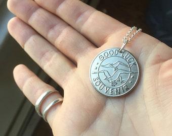 """Atlantic City """"Good Luck Souvenir"""" Coin Necklace"""