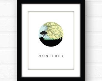 Monterey Bay map art | California wall art | California map print | Monterey, California print | travel wall art | travel poster