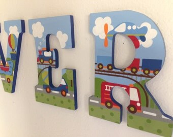 Custom Painted Boy's Letters- Bacati Transportation Theme (Price Per Letter)