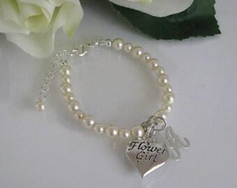 Flower Girl Pearl Bracelet-Cream Pearl Flower Girl Bracelet-Flower Girl Bracelet-Junior Bridesmaid Pearl Bracelet-Custom Flower Girl