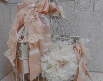 Shabby Birdcage Wedding Card Holder / Distressed Birdcage Card Holder / Vintage Wedding / Wedding Decorations / Wedding Card Holder