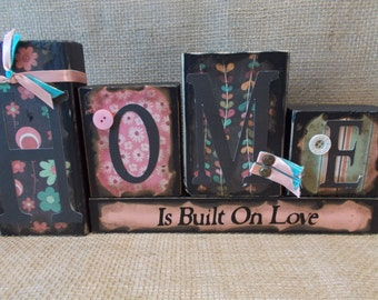 HOME Wood Block Sign