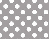 1/2 yard LAMINATED cotton fabric (aka oilcloth coated wipeable fabric) remnant (18 x 40) - Medium Gray dots yardage