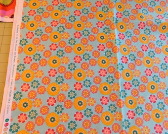 "Teal Pink and Yellow Retro Floral By Mulberry  ""Cocoon""  Fabric  By the yard   Sewing Quilting Crafting  Sale Destash Stock Up"