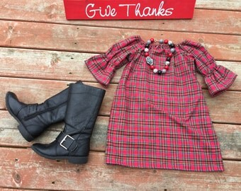 Girls Red Plaid Dress - Trendy Christmas Fall Holiday 0 3 6 12 18 2t 3t 4t 5 6 7 8 9 10