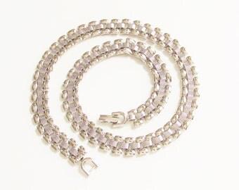 Vintage Monet Silver Chain Link Necklacec signed 1960s