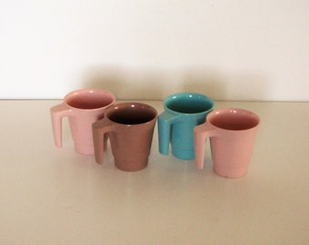 Vintage Melmac Coffee Cups (4) - Durawear - Pink, Turquoise and Brown