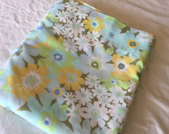Vintage double Flat Bedsheet-yellow, blue, lime green, white