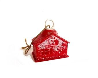 Vintage Plastic Little Red Log Cabin Schoolhouse Christmas Ornament