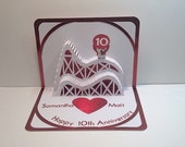 10th ANNIVERSARY 3d Pop Up Roller Coaster Card CUSTOM ORDER Handmade in White and Bright Metallic Shimmery Red