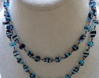 LONG 29 inches of glorious murano venetian glass bead sky blue with purple swirls
