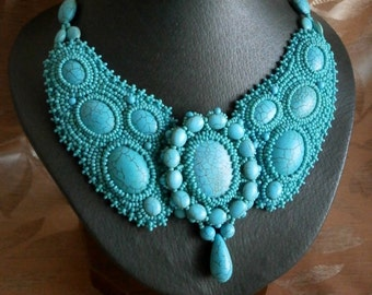 Sale... Turquoise Necklace, Bead Embroidery Necklace, Vintage style, Queen necklace