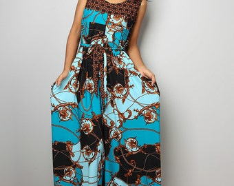 Jumpsuit - Boho Wide leg Jumper Maxi Dress with pockets : Simply Jumpsuit Collection