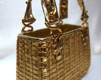 RODO Vintage woven gilt Metal and Leather Evening Tote