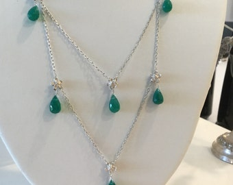 Green Onyx Necklace and Earring Set in Sterling Silver