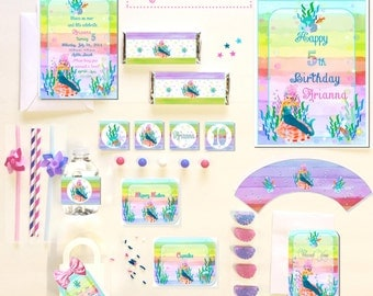 MERMAID Under the Sea PARTY COLLECTION ~ Personalized Printable Download