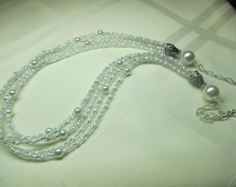 White and Silver Multi Strand Necklace