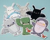 Cute Sticker Pack - Dragon, Cactus, Shark, Mummy Bunny, Flat Bonnie on Cloud, BatBun, Kawaii vinyl laptop stickers, notebook decal planner