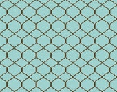 Bohemian Roosters - Chicken Wire Blue by Daphne B from Wilmington Prints