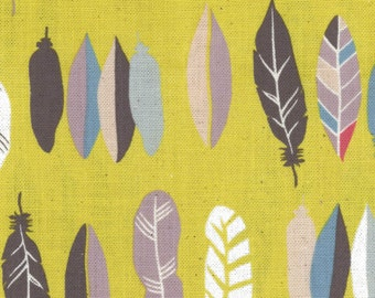 Natural Ethnic - Yellow Mustard Feathers CANVAS from Kokka