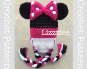 Minnie Mouse Crochet Pattern PDF - fun to make for Disneyland Disneyworld trip - beanie, earflap, braids - Instant Digital Download
