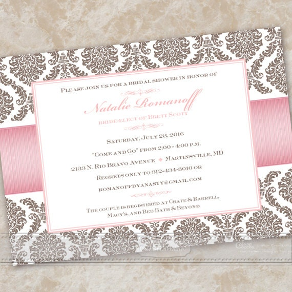 bridal shower invitations, rose quartz bridal shower invitations, rose quartz wedding invitations, pink wedding invitations, IN490