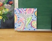 """custom 12""""x12"""" for CHRIS. reserved listing.  nurse themed on paisley. bright colors"""