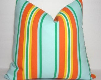 OUTDOOR Orange Aqua Stripe Pillow Cover Aqua Orange Green Stripe Pillow Cover Deck Patio 18x18