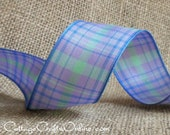"""Plaid Wired Ribbon, 1 1/2"""" Lavender, Green, Blue Plaid - THREE YARDS  - Offray """"Duncan"""" #60473 Spring, Summer Craft Wire Edged Ribbon"""