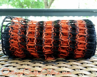 "Halloween Wired Ribbon, 8"" wide, Black and Orange Burlap Mesh Squares - FIVE YARD ROLL - Natural Jute Net Craft Wire Edged Ribbon"