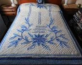 "Vintage Chenille Bedspread Blues on White Standard Double 90"" x 102"""