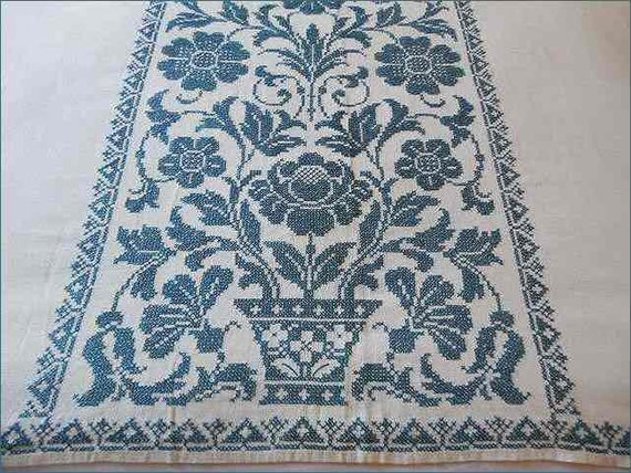 Large Linen Tablecloth Blue Cross Stitch Possible Bedspread