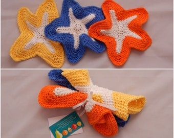 Crochet Dishcloth Gift Set – Includes Gift Card – Starfish - Yellow, Blue and Orange