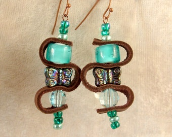Leather, Glass, and Metal Earrings - LE56