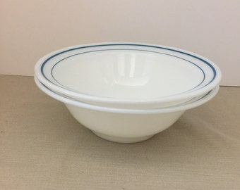 """2 Vintage Anchor Hocking Fire King #938 Large Bowl 8 3/4"""" Wide x 3"""" Tall Pattern #350 Teal Blue Double Stripe Pattern"""