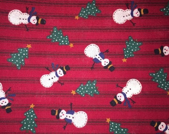 "100% Cotton Fabric - Christmas, Winter, Holiday Print 2 Yards Plus 17"" Snowman, Christmas Tree, Red, Green, Black"